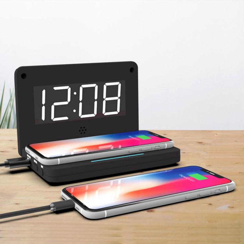 Room Bedside Alarm Clock High Quality Digital Alarm Clock With 10w Wireless Charging