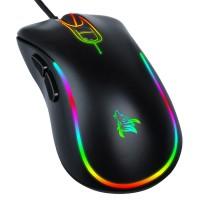 Custom 7D 7200DPI black optical ergonomic gaming mouse with LED backlights