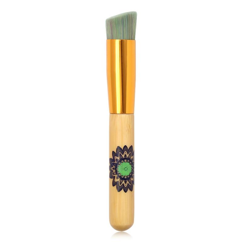 Maange wholesale single burlywood wooden handle foundation brush