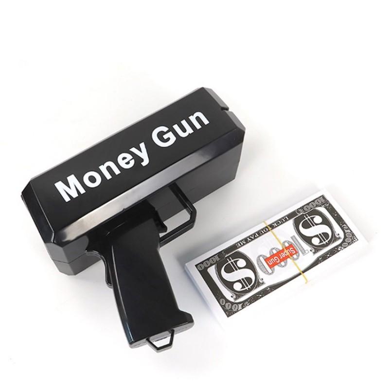 Black Custom Wedding Festival Club Logo Paper Electronic Super Cash Cannon Shooter Money Gun For Party