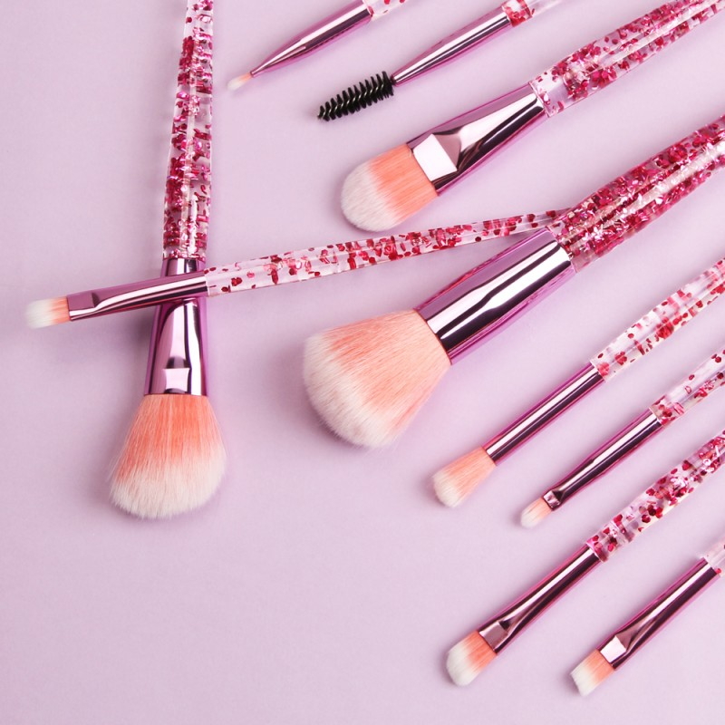 10 pcs luxury eyeshadow colorful beauty hair diamond makeup brush set