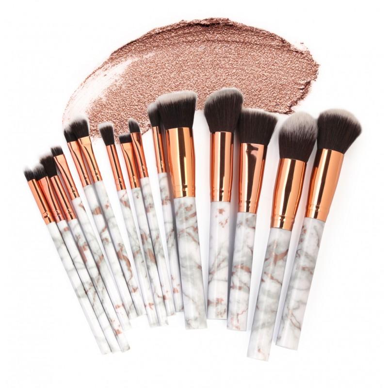 MAANGE 15pcs marble makeup brushes set plastic handle nylon hair blending foundation wholesale private logo brochas maquillaje