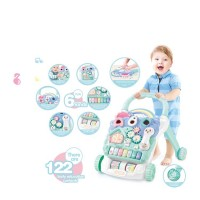 Multifunctional Piano Stroller Carrier Push Baby Anti-rollover Keyboard Activity Musical Learn Walker Toy