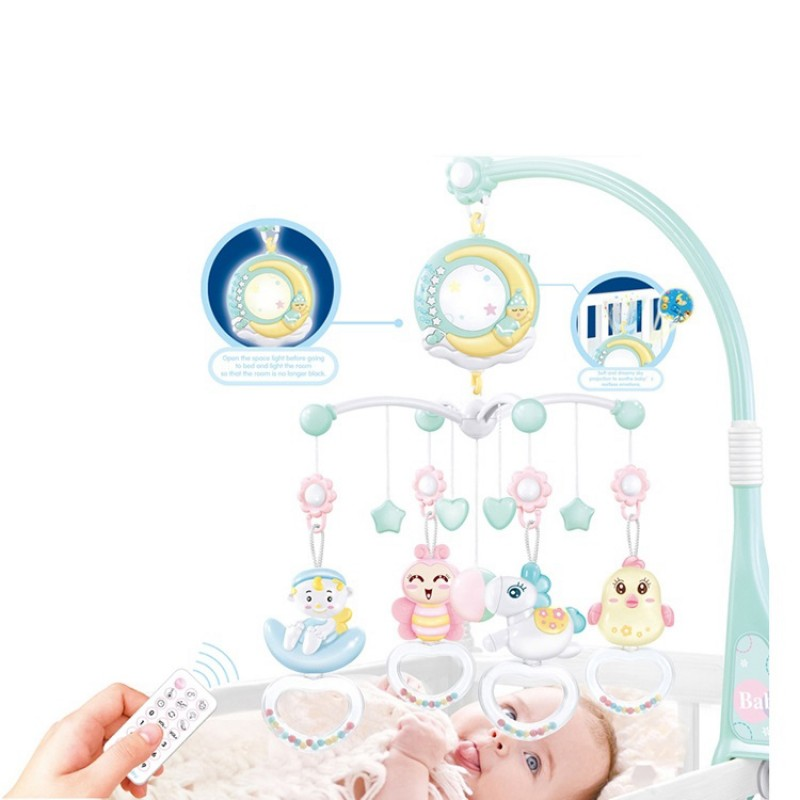 Mobile Musical Remote Controller Learn Happy Projection Crib Newborn Plastic Cartoon Music Baby Hanging Toy Bed Bell