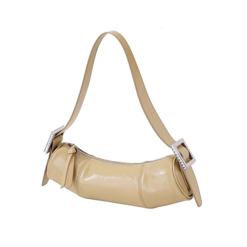 Online shopping uk Genuine Leather Round Barrel women underarm hobo slouch shoulder hand bag Purse