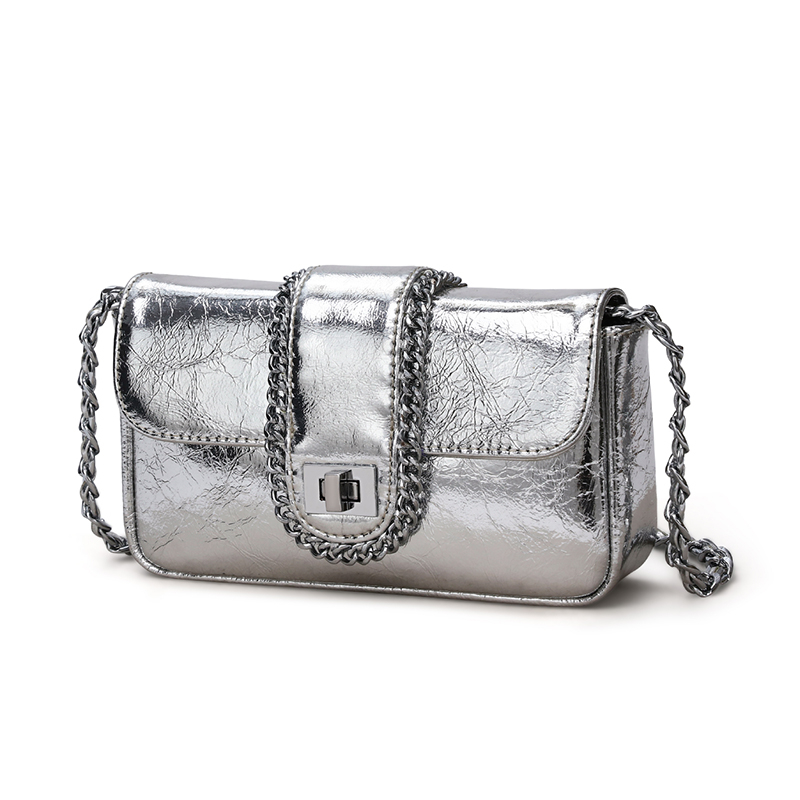 Fashion Most Popular ladies hand bag genuine leather metal chain 2021 mini silver metallic purses