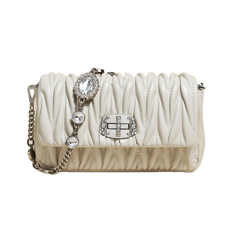 New rhinestone diamond ruched cow leather shoulder sling handbag bag crossbody purse