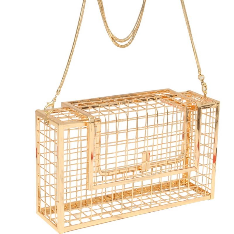 Hollow Out Metal Cage Bag Shoulder Crossbody Bags Wedding Party Cage Cutout Metal Hollow party purse clutch