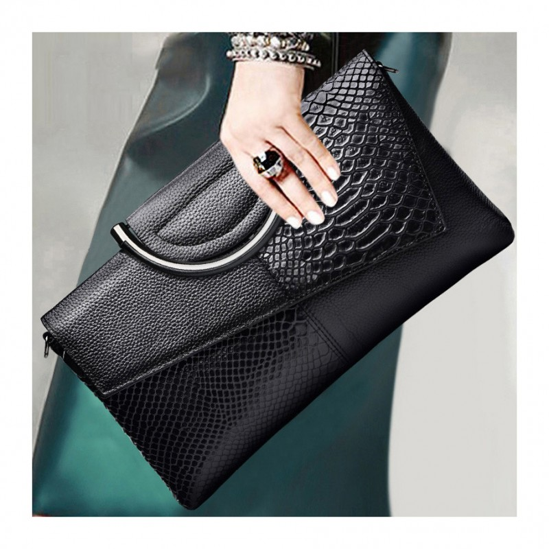 2021 Crocodile Pattern Leather Clutch Cow Leather evening Bag clutch bags for woman