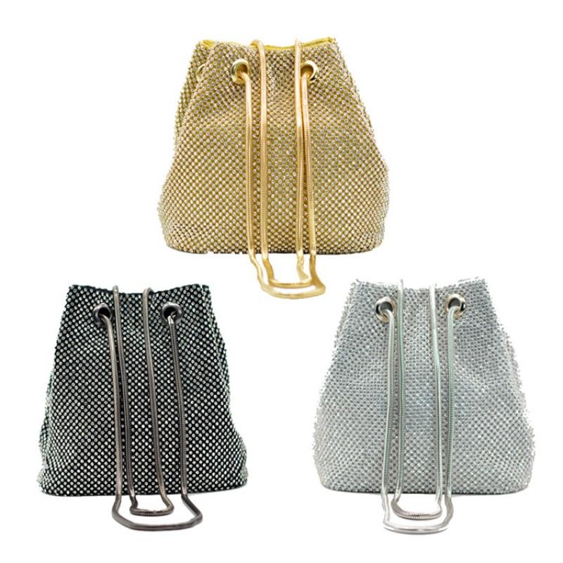 THE BUCKET TOTE Rhinestone Diamond drawstring gold Bucket bags Purse