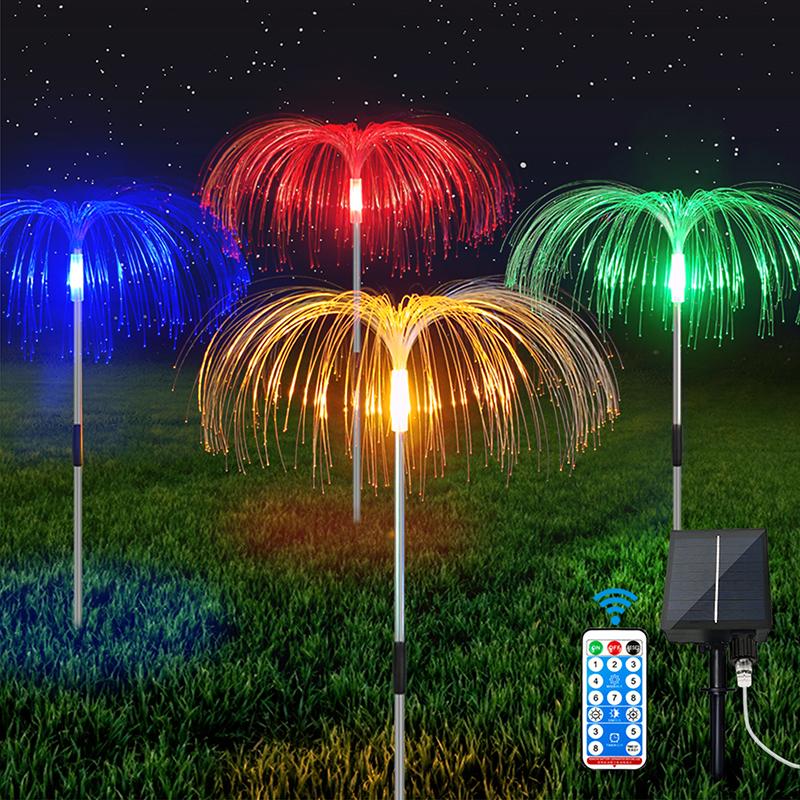 4 In 1 Outdoor Solar Led Fiber Optic Flower Jellyfish Light Led Fiber Optic Lights Decoration Lamp For Garden