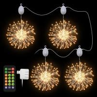New Motor Rotation Christmas Decoration Starburst Light Remote Control Type Fireworks Xmas Lights Led Firework Lights