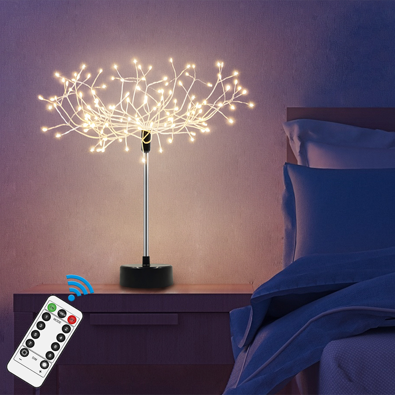 Amazon Home Decoration 3*AA Battery Remote Control 8 Function Table Led Starburst Night Light  Led Firework Light lamp