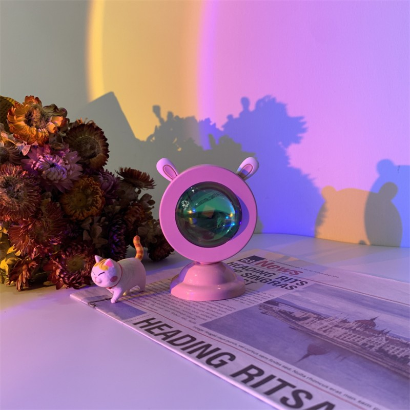 Hot sell rabbit night light modern photography home led color projection night light floor rainbow projector lamp