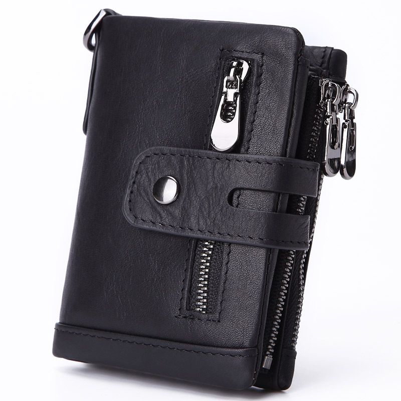 100% Genuine Leather Male Purses With Zip Coin Pocket customize logo Men Wallet And Card Holder Wallets Leather Men
