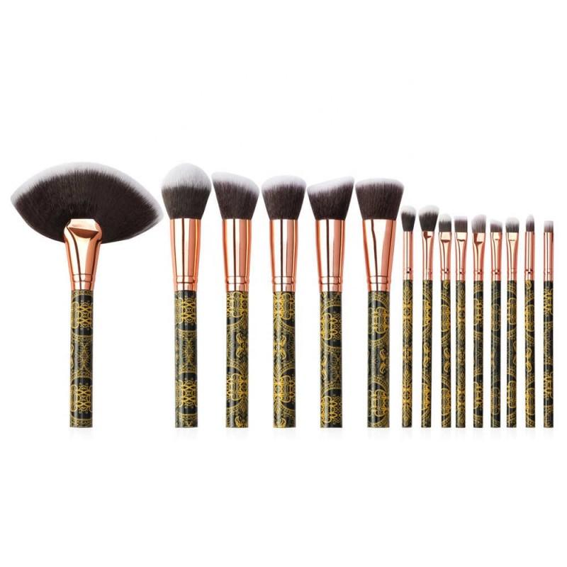 Wholesale 15 pcs makeup brush set Large Fan Brush For Makeup Brush Set private label
