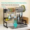Stainless steel kitchen black shelving bowl and chopsticks drainage rack tableware kitchen utensils storage rack