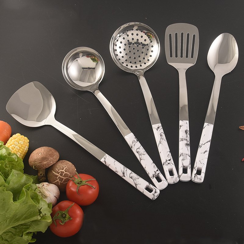 Kitchen Accessories 5PCS Set Stainless Steel White Marble Plastic Handle Cooking Kitchen Utensils Set with dish spoon spatula