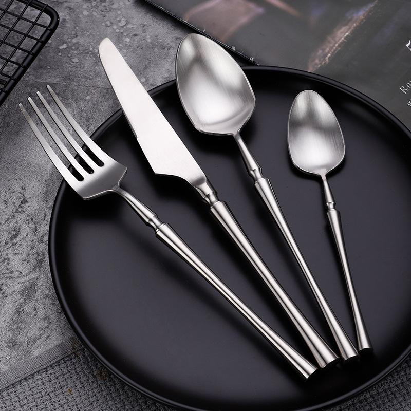 Mirror Polish Thick Handle 304 Wedding Stainless Steel Cutlery set Metal Silverware Cutlery Set