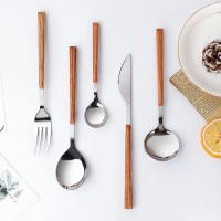 2021 New Imitate Wood Flatware Marbling Spoon Knife Fork Set Stainless Steel Cutlery
