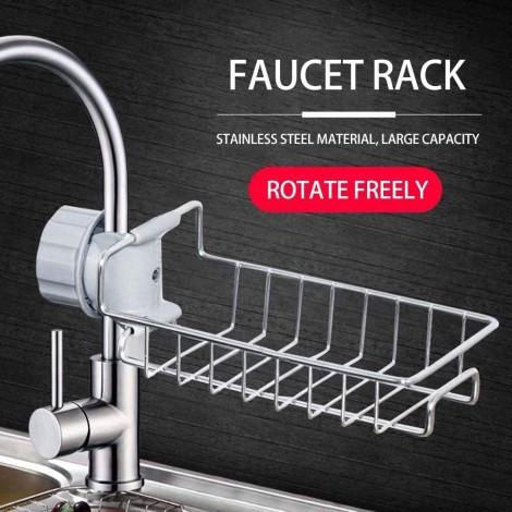 Storage Holders & Racks Punch-free Metal Storage Rack Stainless Steel 304 Sponge Faucet Storage Rack