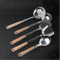 High Quality Kitchen Cooking Tool Wooden Handle Stainless Steel Kitchen Utensil Set